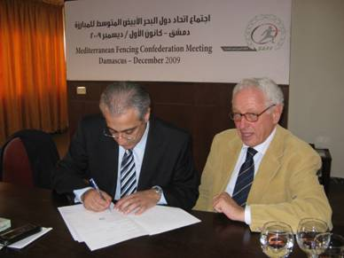 Ziad Choueiri sealing Lebanon's adherance to the Mediterranean Confederation of Fencing