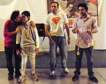 Roger Tanios, Andréa Di Lorenzo (médaille de bronze), Fadi Tannous et Imad Nahas