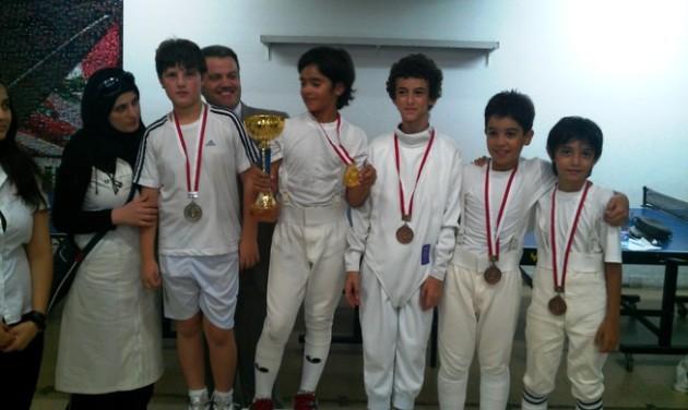 Fleuret U11 2012 - Amir Shamseddine argent, Tarek Daccache or, Pierre Turk, Joy Daou et Jad Daccache bronze