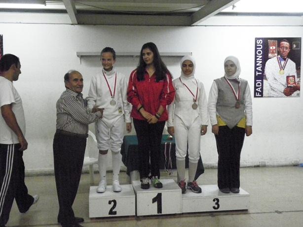 Souhail Saad, Vika Haykal (argent), Rita Aboujaoudé (or), Rawan et Lama Anadani (bronze)
