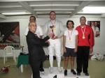 Podium du Championnat du Liban de Sabre Hommes Senior 2012 - Mahmoud Ali Ahmad (argent), Ziad Chouéri, Chafic El Khoury (or), Imad Nahas et Raed Bou Karroum (bronze ex-aequo)