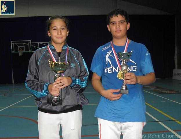 Marie-Joe ABOUJAOUDE et Antoine ONEISSI champions du Liban de fleuret U13 - 5 oct. 2013