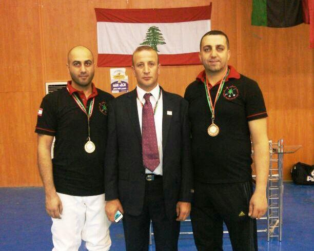 Ziad Jalbout (argent) Bahij Charanek (chef de mission) et Chafic el Khoury (bronze)