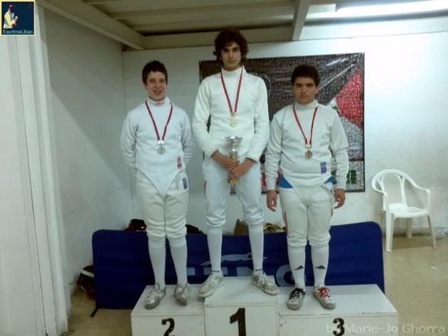 Podium du championnat du Liban de fleuret masculin junior 2013 - Ramy BEYDOUN argent, Rami GHORRA or, Antoine ONEISSI bronze