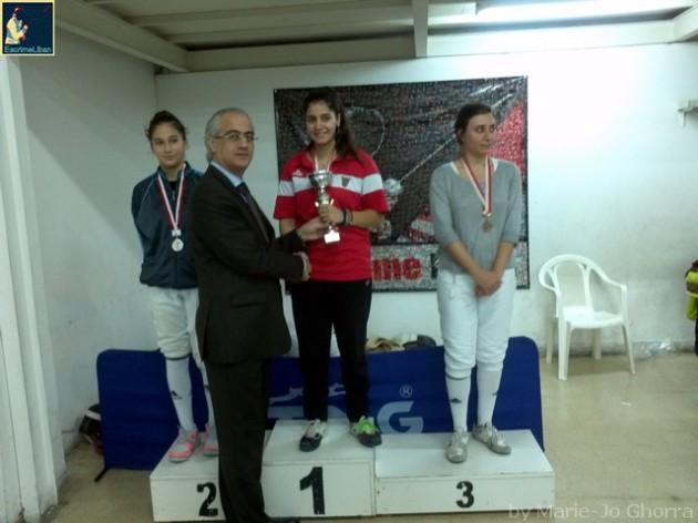 Podium du Championnat du Liban de fleuret féminin sénior 2013