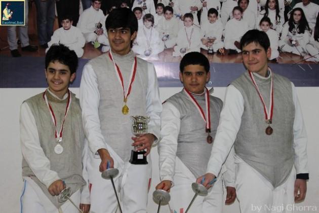 Podium de la Coupe du Liban 2014 masculine U16 - Tarek Daccache argent, Anthony Chouéiri or, Antoine Oneissi et Andréa Di Lorenzo bronze
